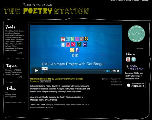 main image for blog post 'National Poetry Day 2016 on the Poetry Station'